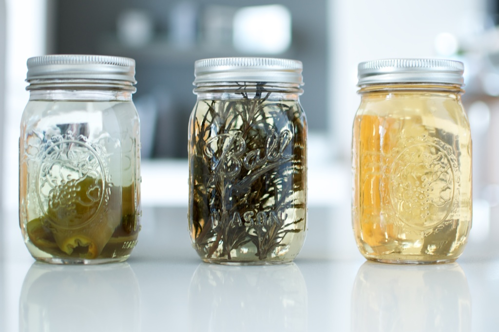 Jalepeño tequila, rosemary tequila, and vanilla vodka